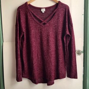 A NEW DAY Burgundy Maroon Red Knit Long Sleeve Top